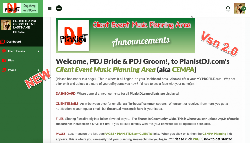 Doug Gazlay's PianistDJ.com Client Event Music Planning Area 2.0 is live!